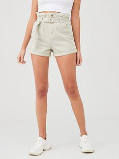 river-island-river-island-paperbag-waist-denim-short--light-green