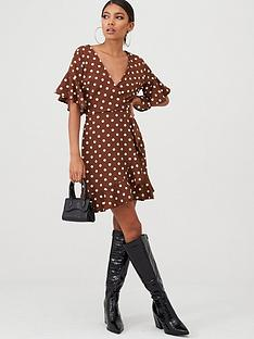 ax-paris-polka-dot-wrap-dress-brown