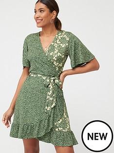 v-by-very-mixed-print-frill-wrap-mini-dress-khaki-floral