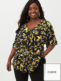 v-by-very-curve-ruche-waist-stretch-top-black-floral