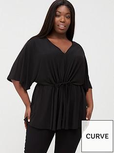 v-by-very-curve-ruche-waist-stretch-top-black