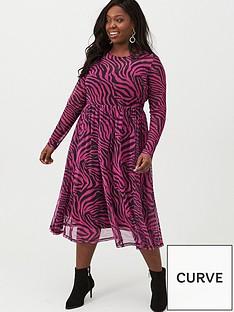 v-by-very-curve-zebra-midi-mesh-dress-pink