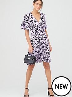 v-by-very-animal-print-frill-wrap-mini-dress-purple