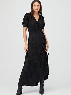 v-by-very-plisse-wrap-maxi-dress-black