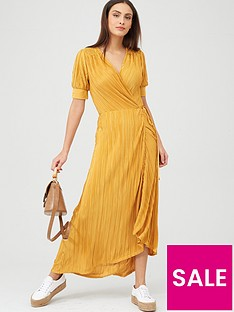 v-by-very-plisse-wrap-maxi-dress-mustard