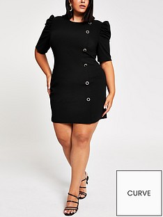 ri-plus-ri-plus-puff-sleeve-scuba-mini-dress-black