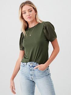 river-island-woven-sleeve-t-shirt-khaki