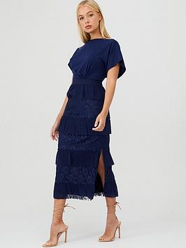 little-mistress-lace-pleat-tiered-midaxi-dress-navy