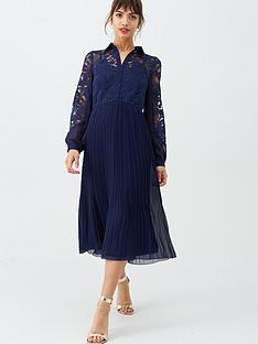 little-mistress-lace-pleated-midi-dress-navy