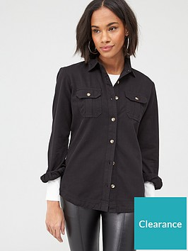v-by-very-essential-twillnbspdenim-shirt-black