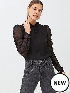 v-by-very-ruched-sleeve-shell-top-black