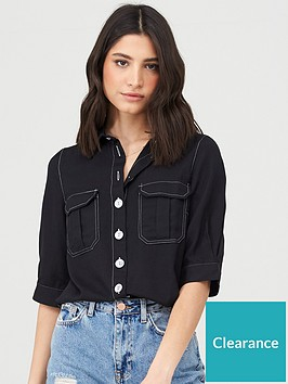 v-by-very-top-stitch-short-sleeve-casual-shirt-black