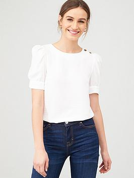v-by-very-button-ruched-shortnbspsleeve-shell-top-ivory