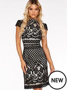 quiz-lace-contrast-lining-high-neck-cap-sleeve-midi-dress-black