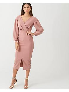 v-by-very-tie-waist-blousonnbspsleeve-dress-rose