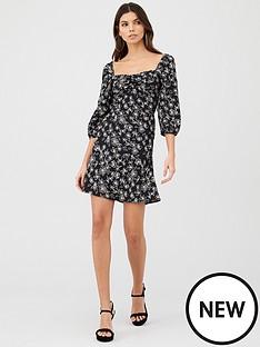 v-by-very-moss-crepe-puff-sleeve-tea-dress-print