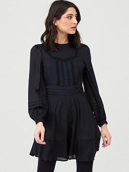v-by-very-cotton-jacquardnbspmini-dress-black