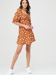 v-by-very-moss-crepe-puff-sleeve-tea-dress-printed