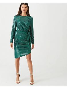 v-by-very-metallic-ruched-front-dress-green