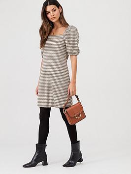 v-by-very-check-volume-sleeve-mini-dress-multi