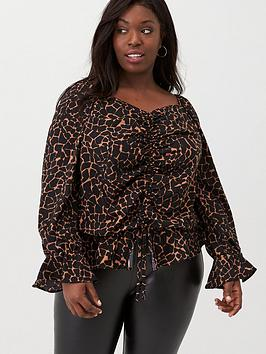 v-by-very-curve-ruche-front-sweetheart-neck-blouse-animal-print