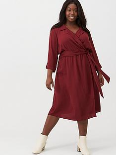 v-by-very-curve-utility-pocket-midi-dress-plum