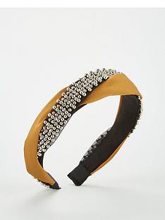 v-by-very-beaded-twist-hairband-mustard