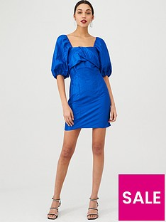 v-by-very-metallic-twist-front-dress-blue