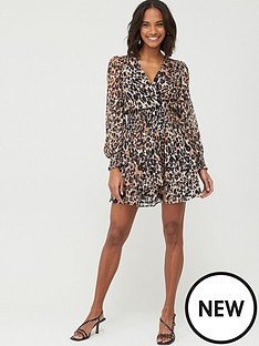 v-by-very-woven-shirred-ruffle-dress-ndash-leopard