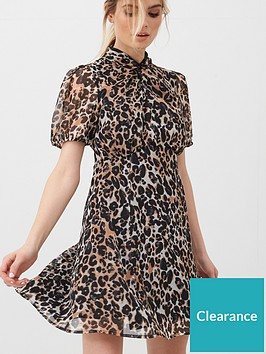v-by-very-georgette-twist-neck-mini-dress-leopard