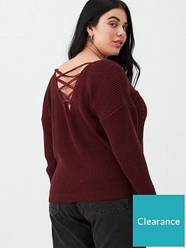 v-by-very-curve-lace-back-v-neck-jumper-burgundy