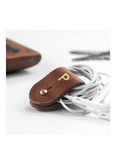 monogrammed-leather-earphones-holder-personalised