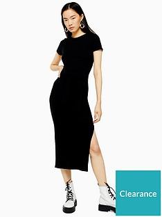 topshop-wide-belt-rib-column-dress-black