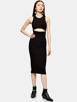 topshop-cut-out-ribbed-midi-dress-black