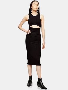 topshop-topshop-cut-out-ribbed-midi-dress-black