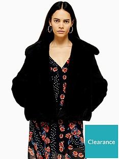 topshop-faux-fur-button-up-jacket-black