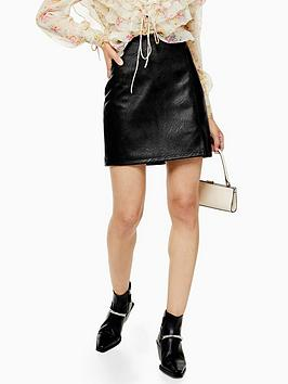 topshop-split-front-pu-mini-skirt-black