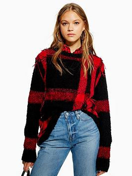 topshop-lumberjack-check-knitted-jumper-red