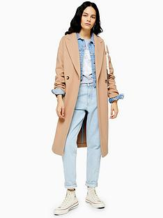 topshop-double-button-longline-coat-camel