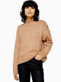 topshop-topshop-button-shoulder-detail-knitted-jumper-camel