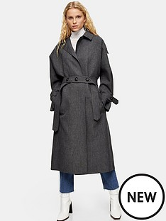 topshop-topshop-belted-trench-coat-grey