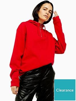 topshop-topshop-half-zip-hoodie-red