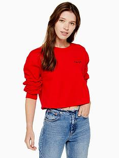 topshop-smile-mini-emblem-sweatshirt-red
