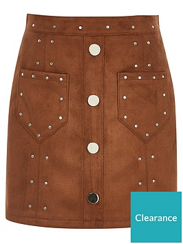 river-island-girls-faux-suede-studded-skirt--brown