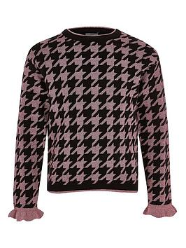 river-island-girls-metalic-houndstooth-knitted-jumper-pink