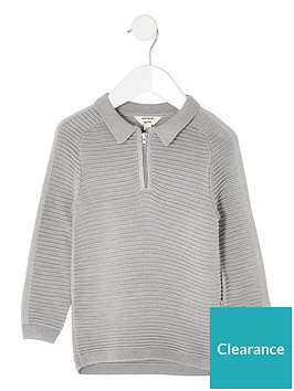river-island-mini-mini-biys-ribber-long-sleeve-polo-grey