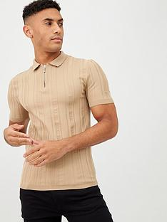 river-island-beige-ribbed-knit-muscle-fit-polo