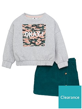 v-by-very-girls-2-piece-okay-sweatshirt-and-cord-skirt-set-multi