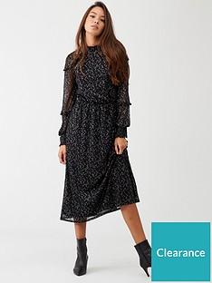 oasis-foil-star-mesh-midi-dress-black
