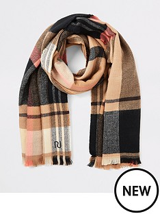 river-island-river-island-camel-check-mid-weight-scarf-beige